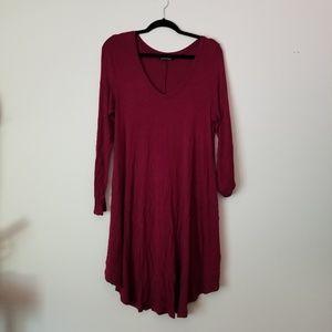 Fits XL/1X White Plum Red V-Neck Comfy Dress